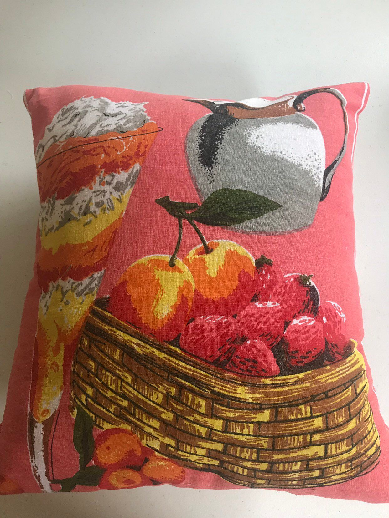 Retro Cushions Retro Cushion Cover Vintage Tea Towel Recycled Vintage Decor