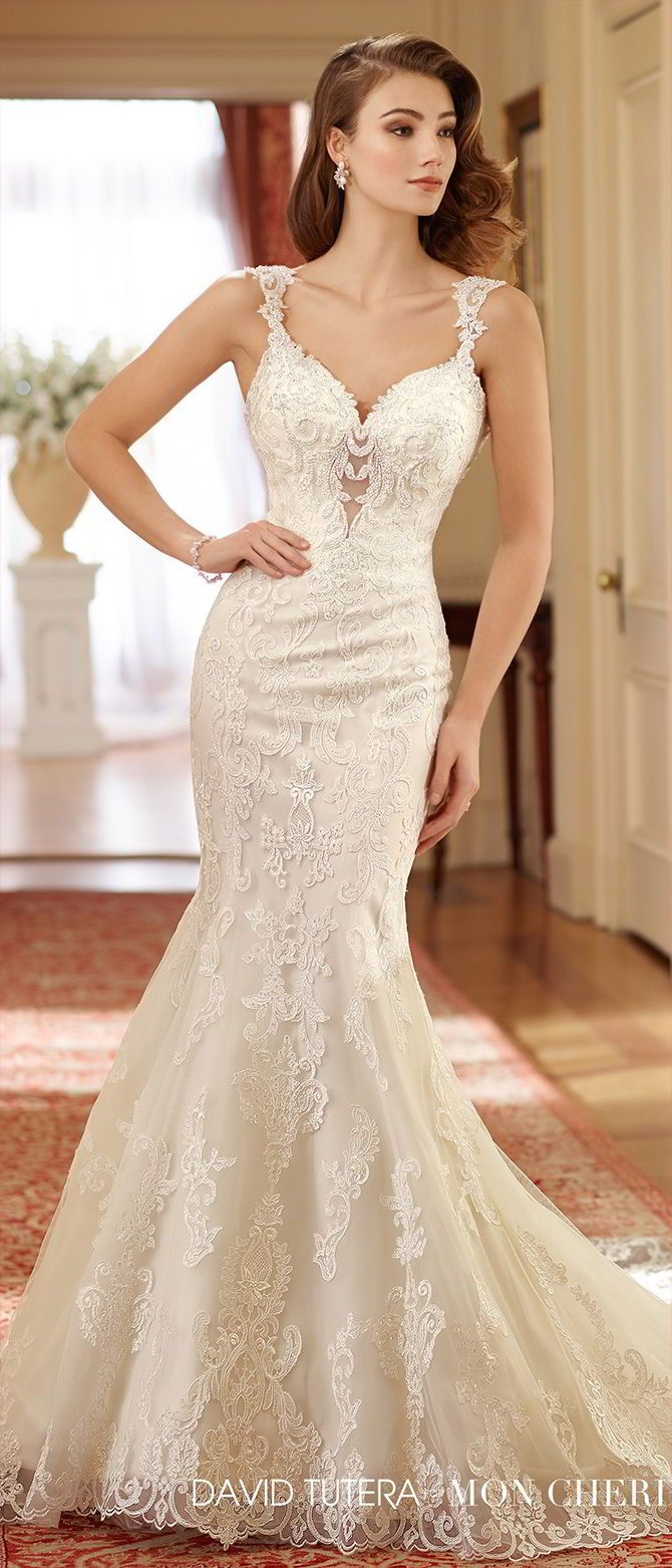 05d7f9f2b95 David Tutera · Trendy Wedding · Sleeveless tulle and organza fit and flare  gown with wide hand-beaded scalloped lace shoulder