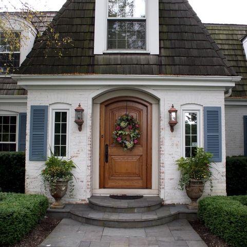 Acadian house facade doors with shutters design ideas for House facade renovation ideas