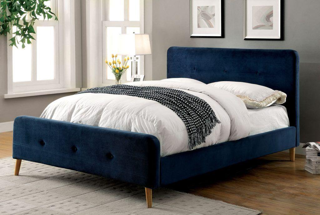 Navy Blue Queen Bed Frame Upholstered Platform Bed Modern Queen