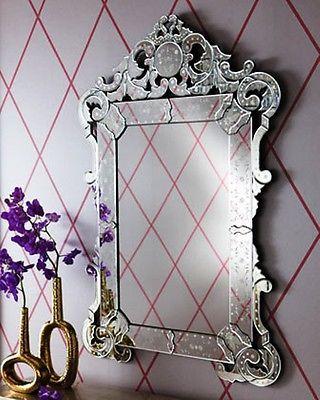 Designer Large 55 Venetian Etch Engrave Scroll Ornate Wall Foyer Mantel Mirror Hautehomefirnishings Ebay Venetian Wall Mirror Mirror Designs Venetian Mirrors