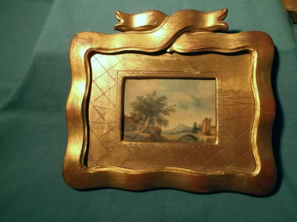 1900 3 italian matched goldgilt frames miniature oil paintings on celluloid - Miniature Frames