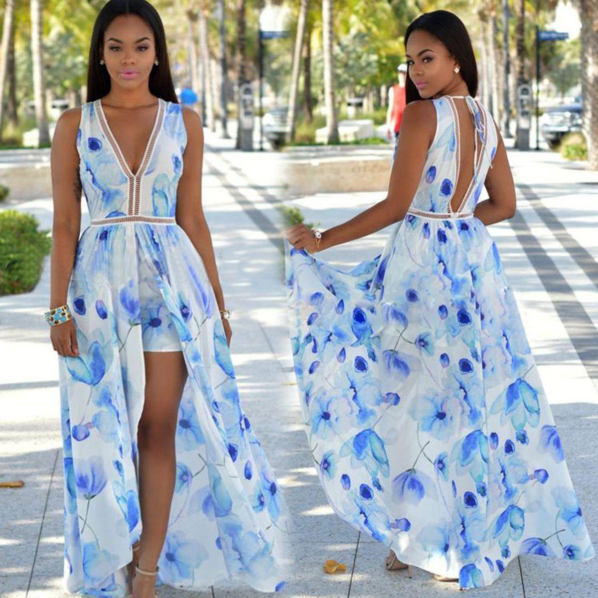 Chiffon slim print vneck sleeveless long dress printing perfect