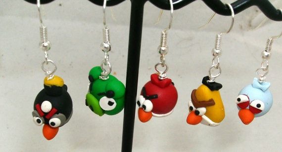 Video Game BIRDS Mad  Earrings Hand Sculpted by FyrestormCreations, $6.50  I own these and they are PERFECT!!!    She has since moved shop to here: http://www.artfire.com/ext/shop/studio/FyrestormCreations/0/0/209348