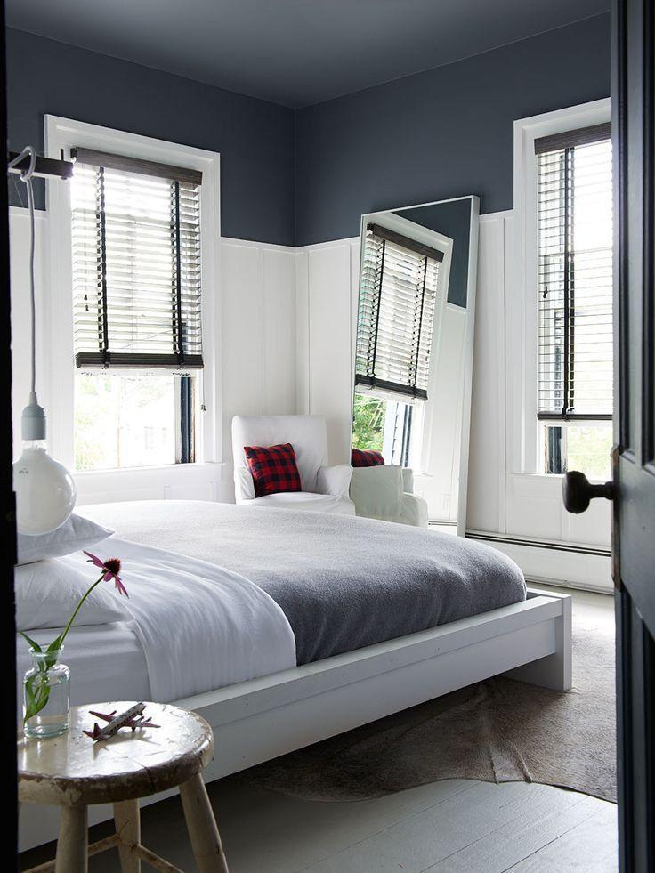 lorsquon peint un plafond la couleur peut aussi stendre en partie sur les murs dans cette chambre on a peint le plafond et 13 des murs de la mme