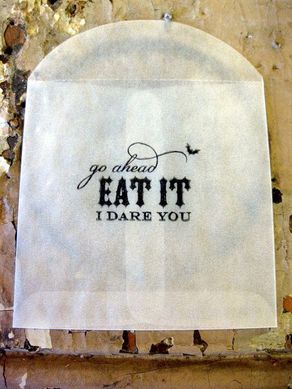 Halloween Favor/Treat Glassine bags Eat it I dare you set of 8