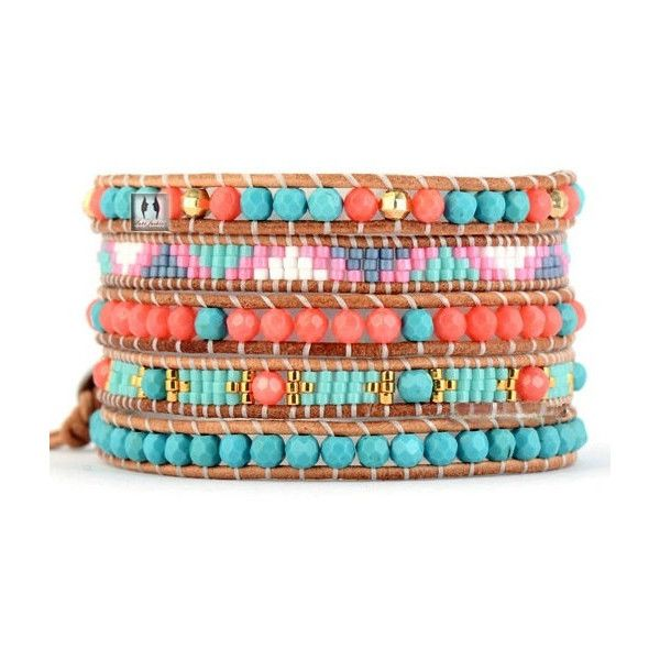 Pink Salmon Coral Seed Bead Wrap Bracelet Turquoise Salmon Coral Pink... ❤ liked on Polyvore