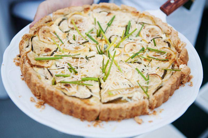 Summer Squash Tart with Ricotta, Mozzarella, and Parmesan - Summer Wedding Menu