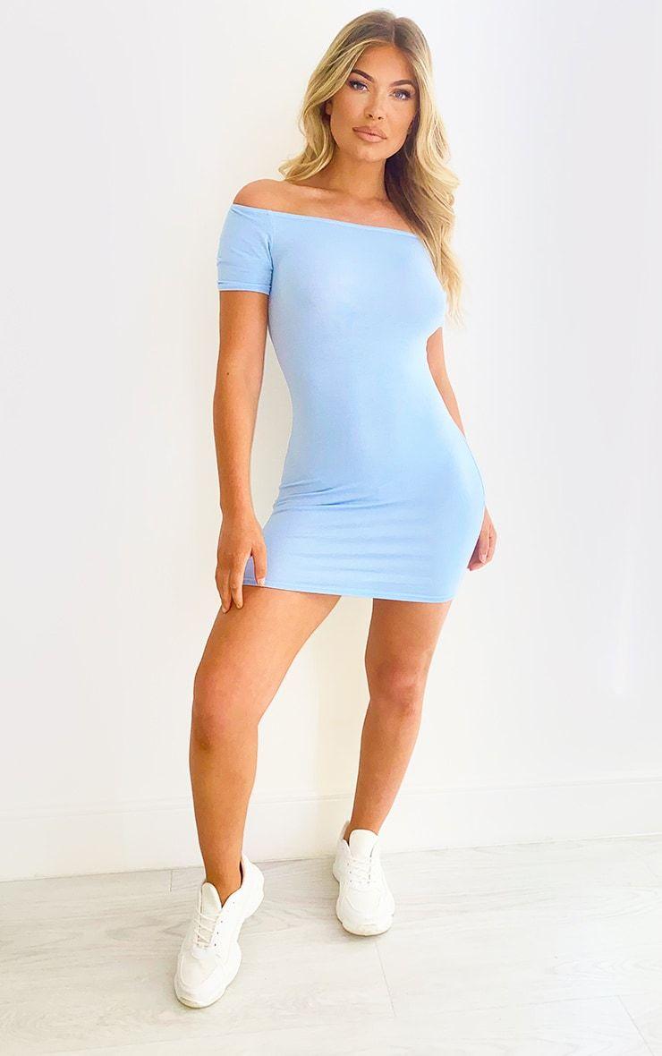 Baby Blue Short Sleeve Bardot Bodycon Dress Bodycon Dress Stretchy Bodycon Dress Bodycon Outfits [ 1180 x 740 Pixel ]