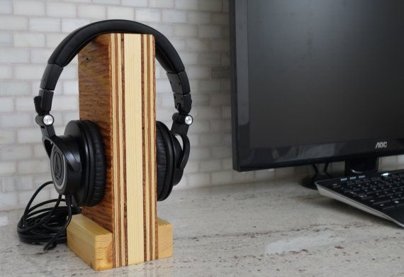 Handmade Wood Headset Stand The Reclaimed Unique Tech Audiophile Gift Headphone Holder Headset Stand H Diy Headphone Stand Headphone Stands Diy Headphones
