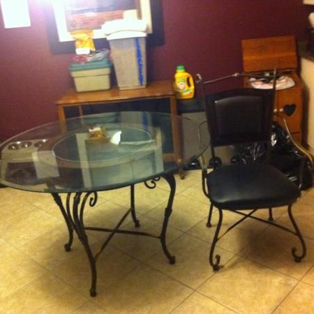 Leather Dining Table And 4 Chairs