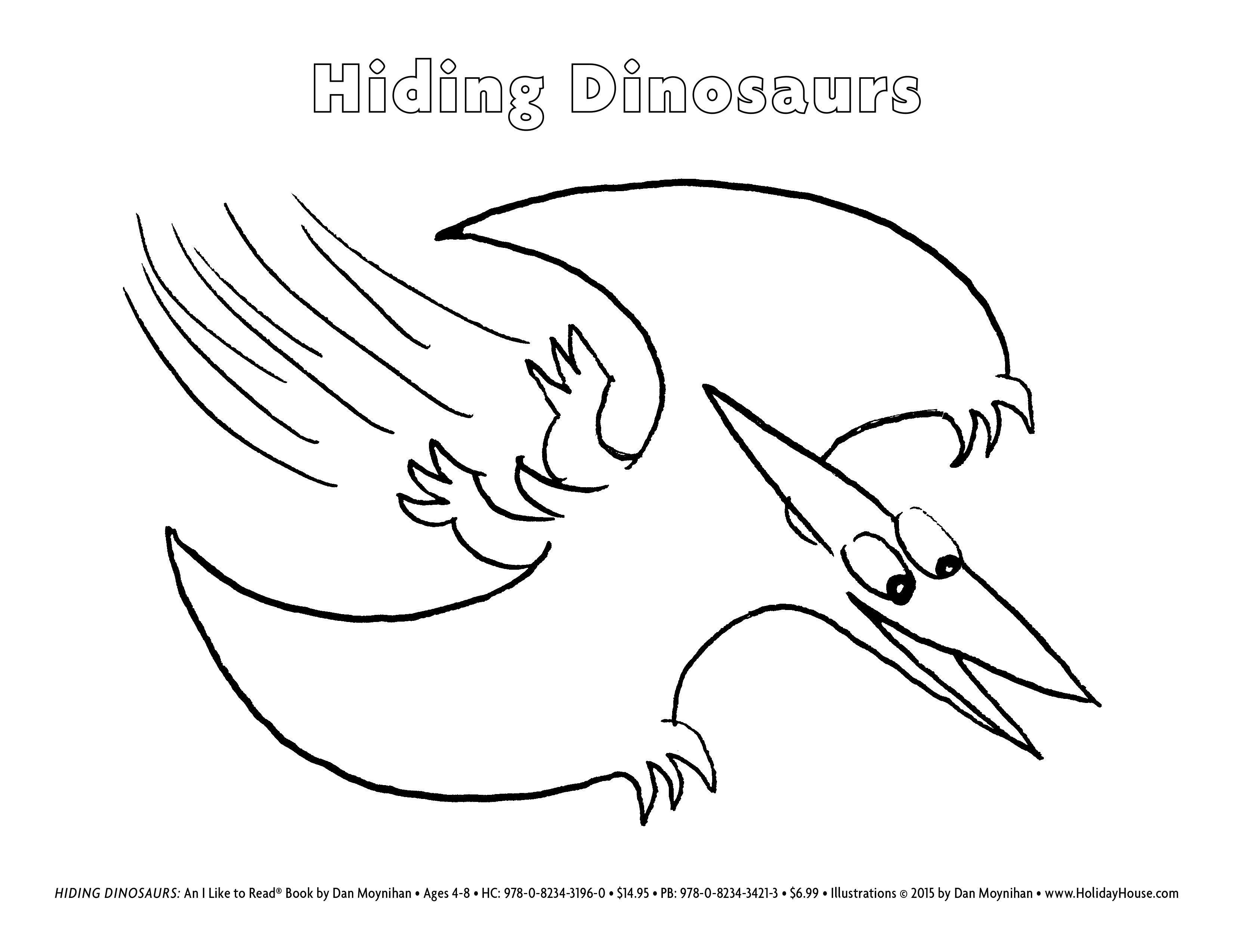 Hiding Dinosaurs by Dan Moynihan Pteranodon Coloring Sheet | Hiding ...
