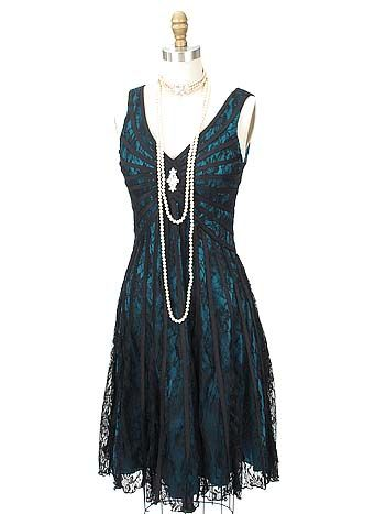 Black Lace Teal Blue Satin 20s Inspired Gatsby Dress In