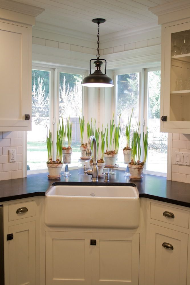Kitchen sink window with light fixture plants farmhouse style sink