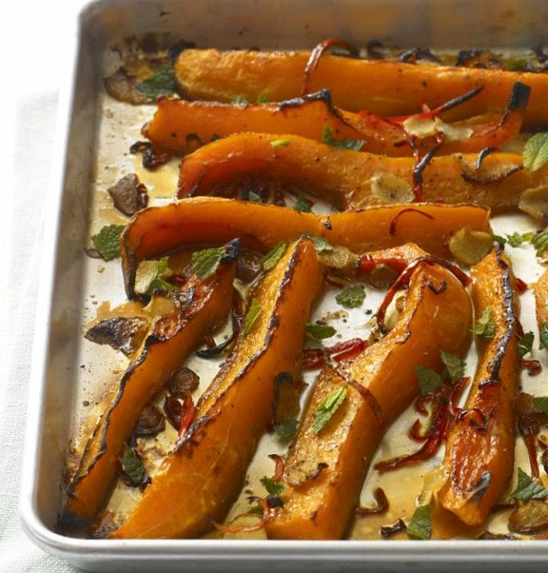 Roast Squash with Ginger. I use fresh thyme and rosemary instead of mint. So yummy.