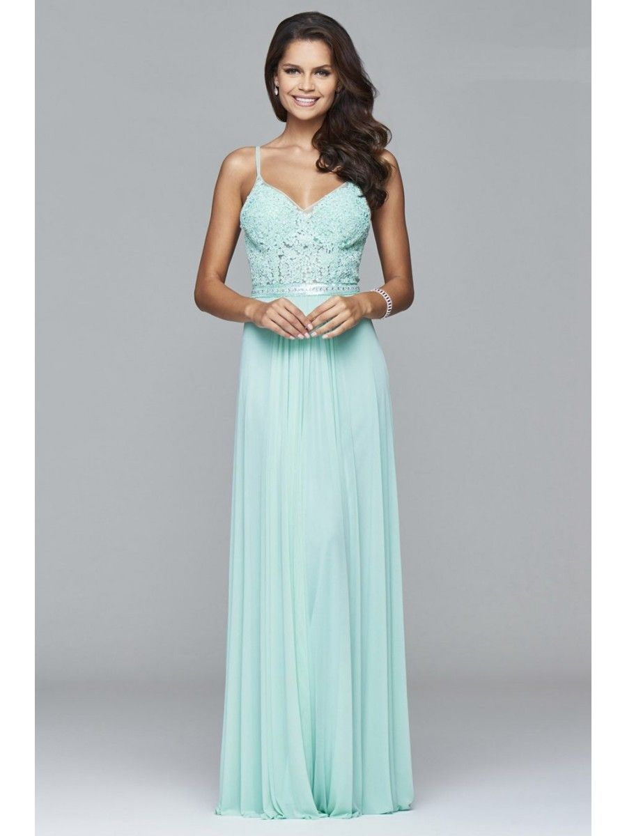 A-Line Chiffon Long Blue Beaded Lace Party Evening Prom Dresses ...