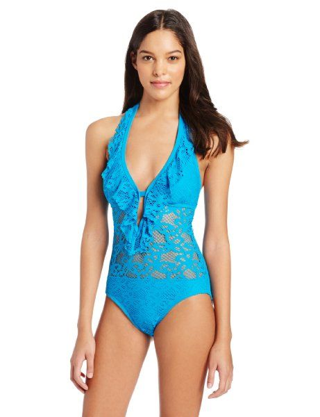 7170b6f922 Kenneth Cole Reaction Women's Islad Fever Ruffle Halter One Piece-love this bathing  suit!!! In black would be cute!