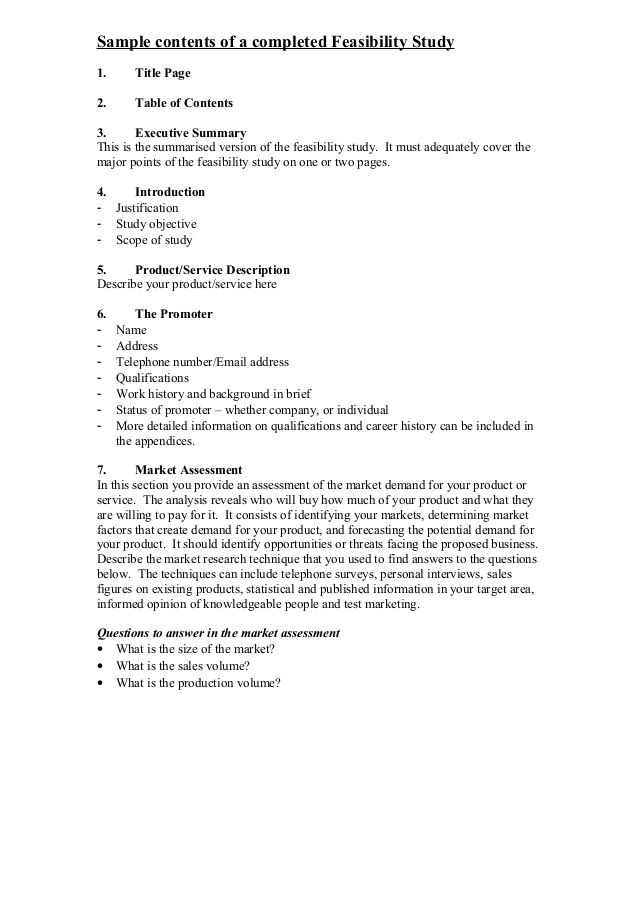 Sample Contents Of A Completed Feasibility Study1 Title Page2