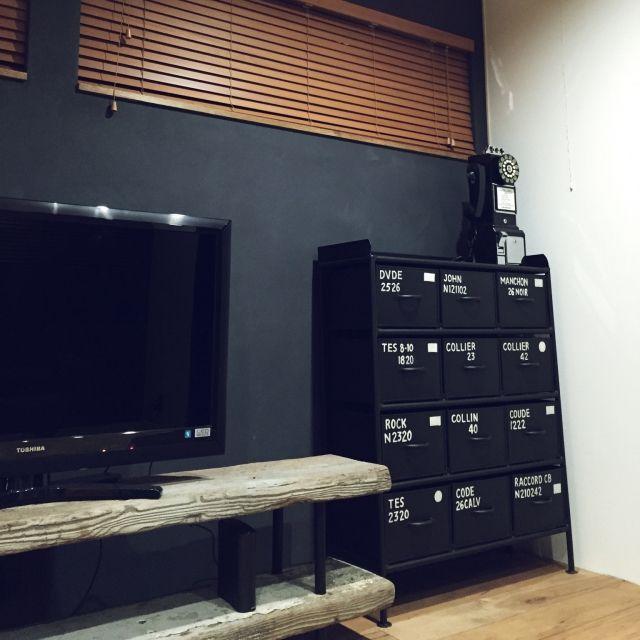 足場板テレビボード/電話は仮置き/アイアンチェスト/棚のインテリア実例 - 2015-02-10 19:01:01 | RoomClip(ルームクリップ)