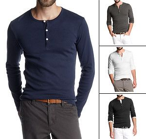 a8a51d62 New Esprit Men's Long Sleeve Button Neck Henley Two-Pack T-Shirts ...