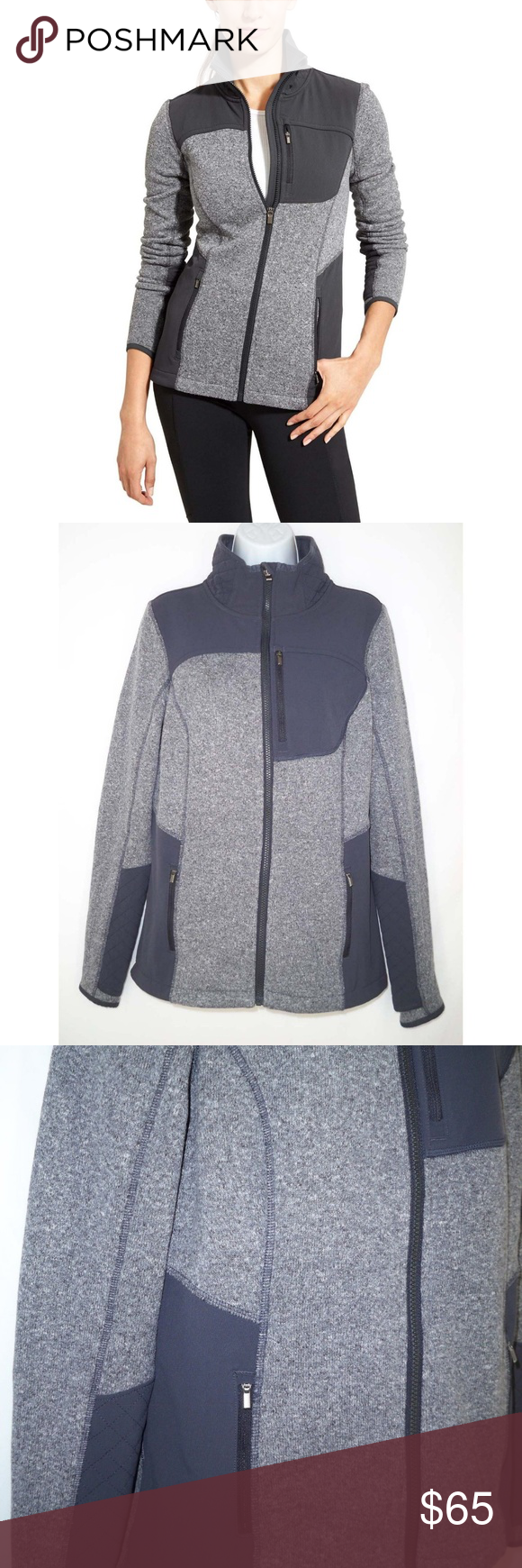 Athleta truckee jacket m medium gray fleece made from cozy sweater