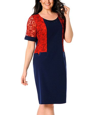 Another great find on #zulily! Navy Lace Sheath Dress - Plus Too #zulilyfinds