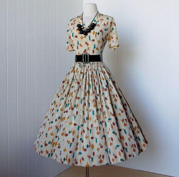Vintage 1950's dress_oriental print