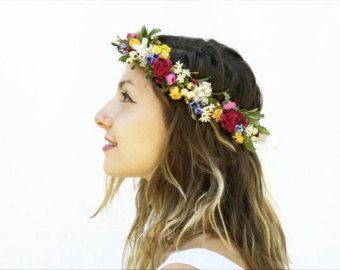Bridal Flower Headpiece, Wildflower Flower Crown, Rustic Bridal Floral Crown, Wildflower Headpiece, Pink, Yellow, Rustic Wedding, Woodland #brautblume