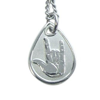 I love being LDS -  Necklace I Love You Sign Language Silver - JNL019 / http://www.mormonproducts.net/necklace-i-love-you-sign-language-silver-jnl019-2/    #LDSProducts #LDS #MormonProducts