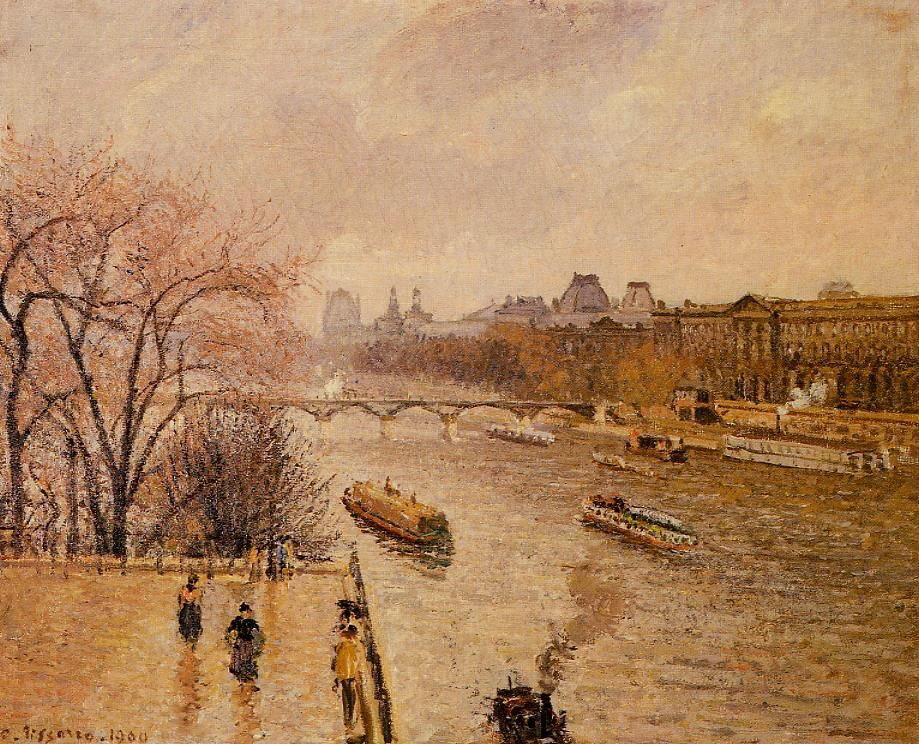 """The Louvre: Afternoon, Rainy Weather"" by Camille Pissarro. 1900 oil on canvas. In the collection of The Corcoran Museum (Now part of The National Gallery), Washington, DC."