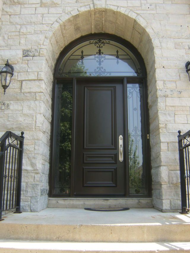 Custom Steel Door With Custom Wrought Iron Sidelights And Transom