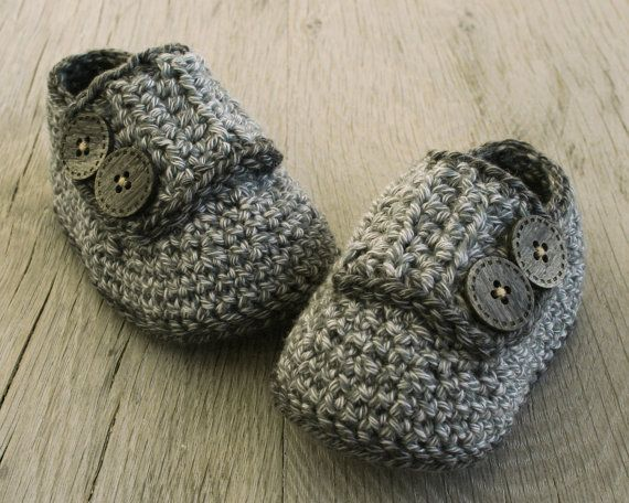 Soft Crochet Baby Boy Booties, Cotton Merino Shoes/Loafers with Two ...