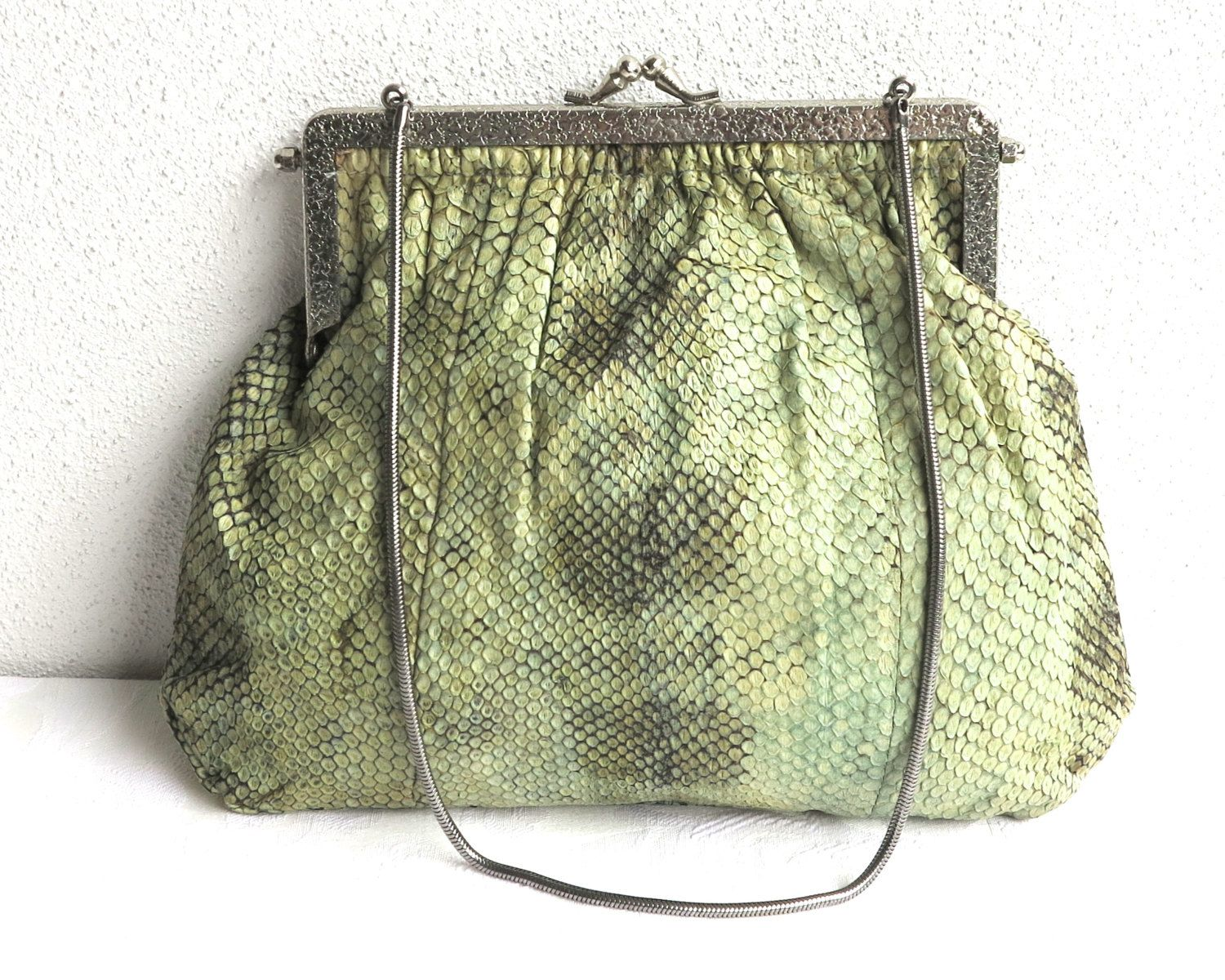Green snakeskin purse with dark and light shades, silver pressed ...
