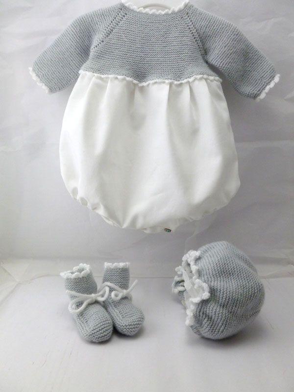 ranita de bebe de primera puesta de viyela y punto de lana gris con ...
