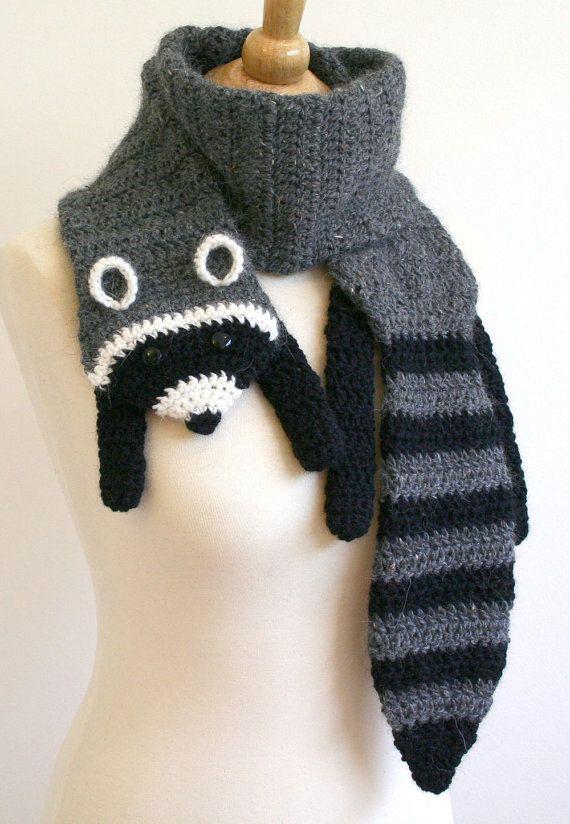 Pdf Crochet Pattern For Raccoon Scarf Animal Woodland Diy Fashion Tutorial Winter Fall Autumn