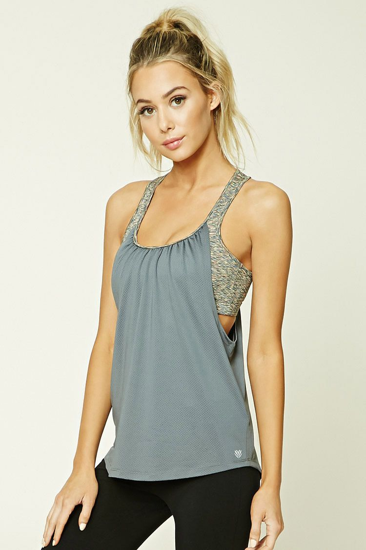 A mesh knit racerback tank top featuring a ruched back