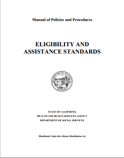 """The Manual of Policies and Procedures - Eligibility and Assistance Standards is the CalWORKs Program manual. It carries the regulation, authority laws, and references. Be sure to locate your laws when reviewing CDSS' regulations. The references are located at the end of every section in the """"NOTES"""" section."""