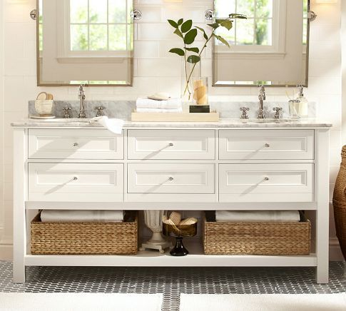 Classic Double Sink Console   White With Polished Nickel, Satin Nickel, Or  Chrome Finished Knobs.