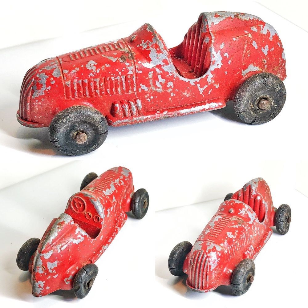 Vintage Tootsietoy Race Car Open Cockpit 8 Diecast Metal Red Made Usa Ebay Diecast Race Cars Car