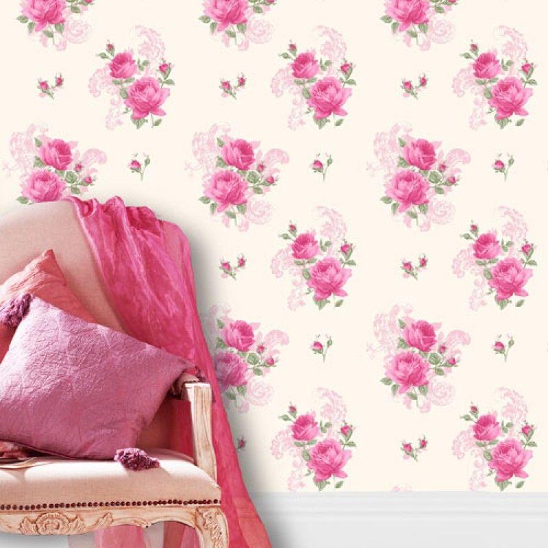 Tea Rose Pink Marshmallow Wallpaper By Crown M0752 Shabby Chic Wallpaper Pink Home Decor Chic Wallpaper