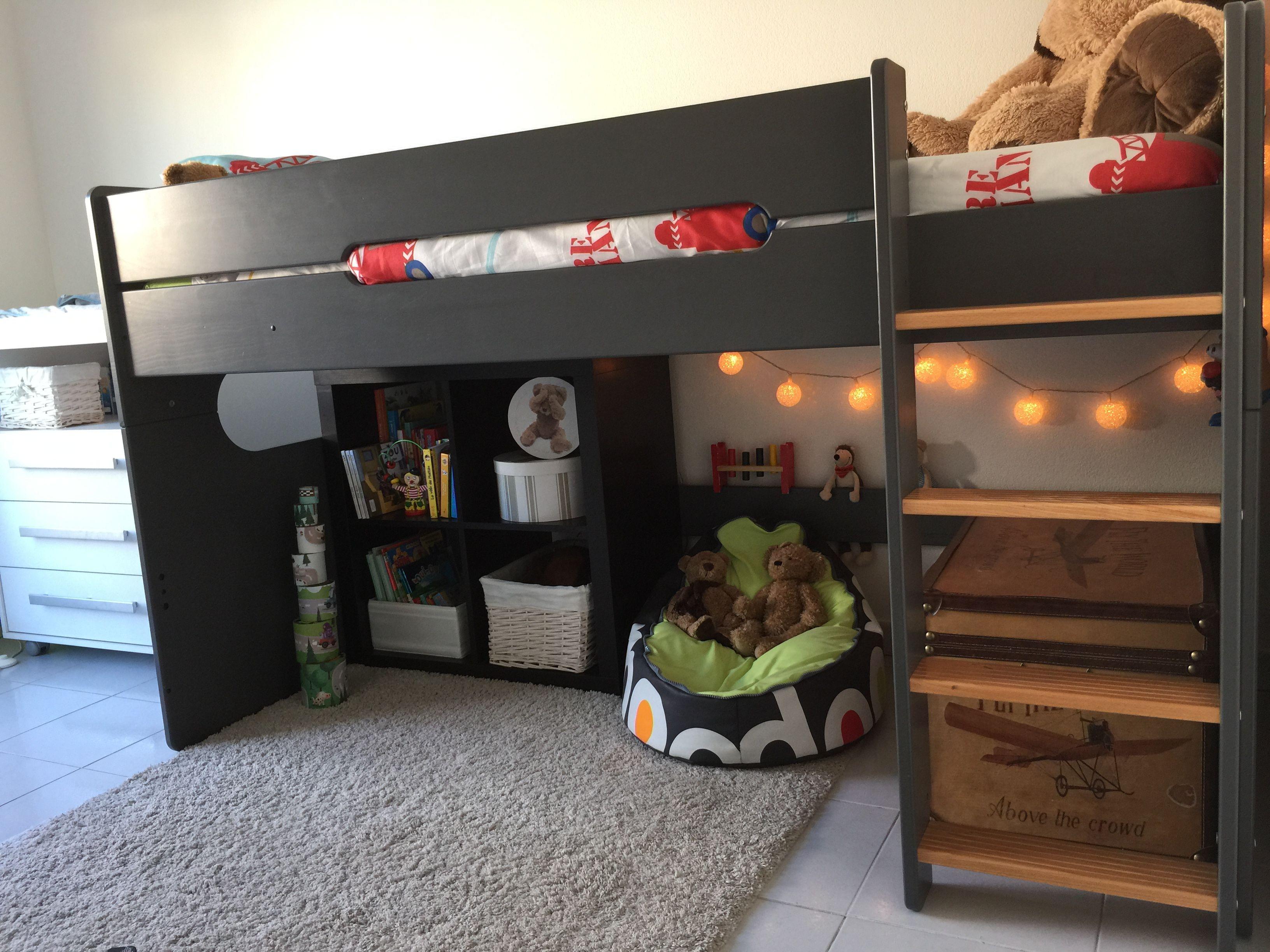 le lit mi hauteur spark gris anthracite et h tre lit. Black Bedroom Furniture Sets. Home Design Ideas