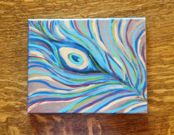 Peacock Feather - 8x10  Canvas Painting