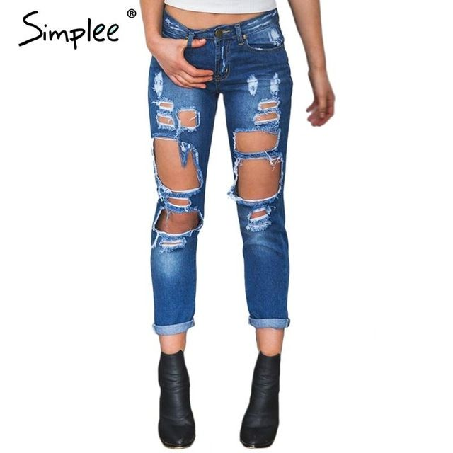 Jeans 2017 Summer Skinny Hole Ripped Jeans Woman Blue Denim Vintage Straight Casual Jeans Feminino Mid Waist Pants Femme Mujer Female Bottoms