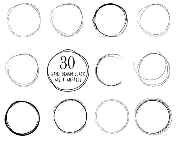 Photo of 30 hand drawn wreaths // hand drawn circles // doodle wreaths // sketchy circles // wedding wreaths