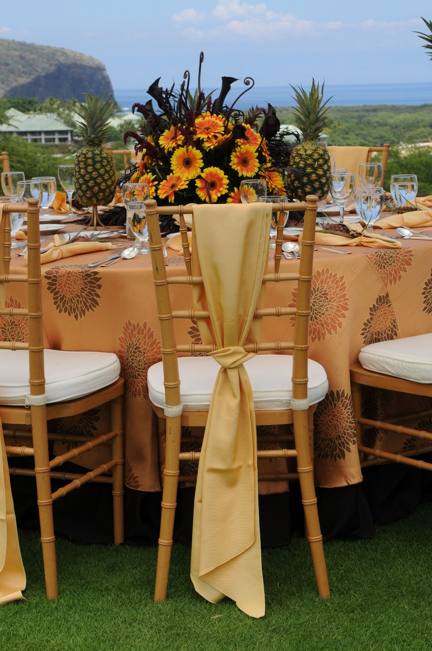 Private luncheon on golf course on the island of Lanai - guests arrived via helicopter from Maui!