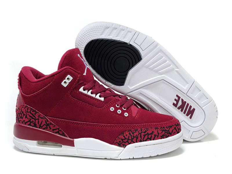 Air Jordan 3 Retro Chaussures Air Jordan Baskets Pas Cher Pour Femme Rouge/Blanc