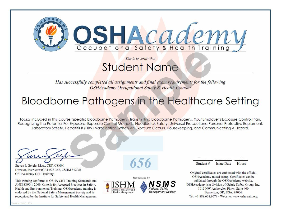 OSHA UP Free, but 13 certificate Bloodborne pathogens