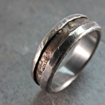 rugged bronze silver ring rustic silver bronze ring rustic wedding ring rustic engagement ring mens ring - Steampunk Wedding Rings