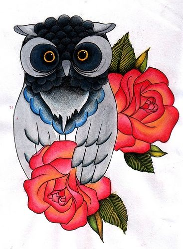 old school owl rose tattoo flash | Owl tattoo design ...