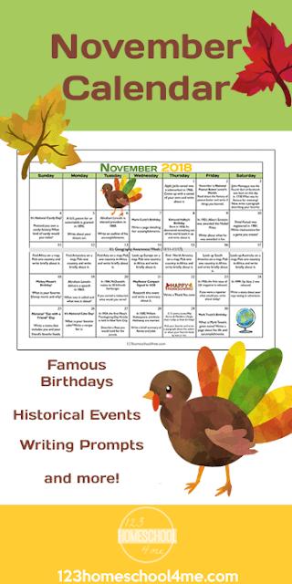 FREE November Writing Prompts Calendar